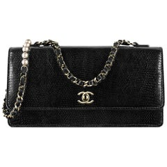Chanel Black Lizard Exotic Pearl Gold Small Mini Evening Shoulder Flap Bag
