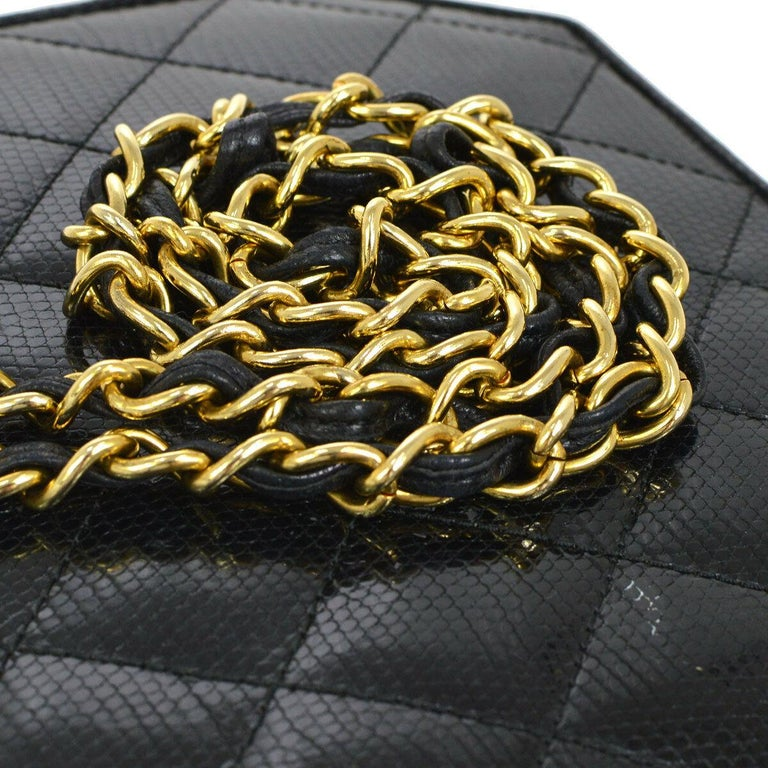 Chanel Black Lizard Exotic Skin Leather Small Evening Clutch Shoulder Flap Bag In Good Condition For Sale In Chicago, IL