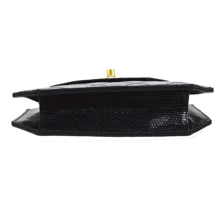 Women's Chanel Black Lizard Exotic Skin Leather Small Evening Clutch Shoulder Flap Bag For Sale