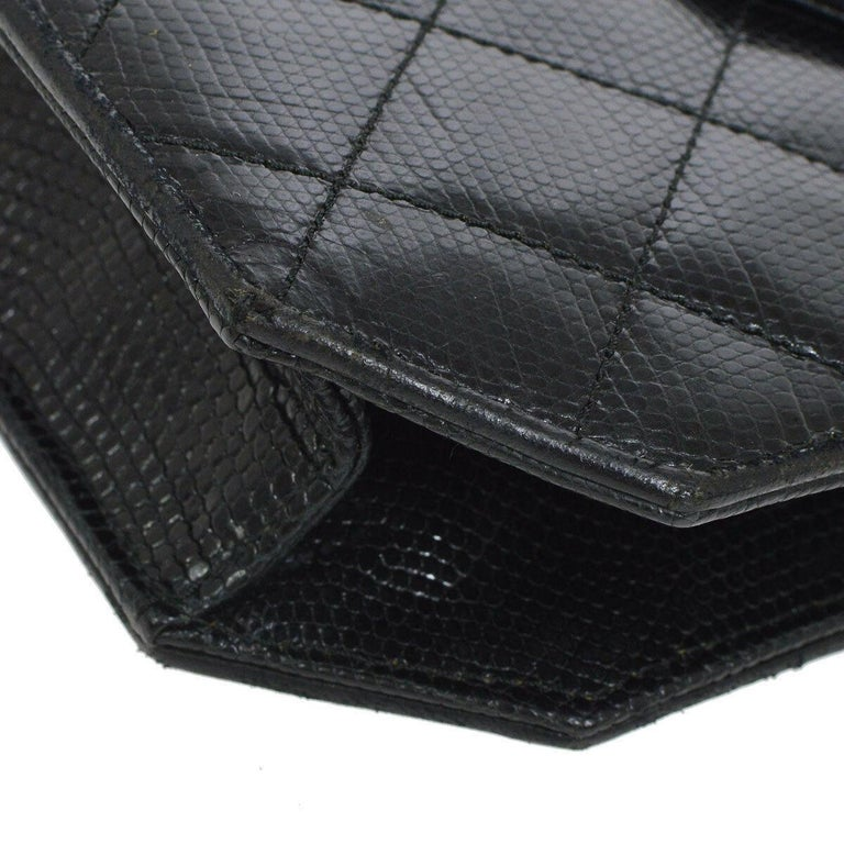 Chanel Black Lizard Exotic Skin Leather Small Evening Clutch Shoulder Flap Bag For Sale 1