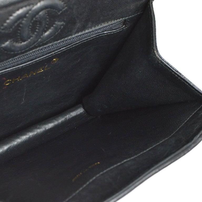 Chanel Black Lizard Exotic Skin Leather Small Evening Clutch Shoulder Flap Bag For Sale 2
