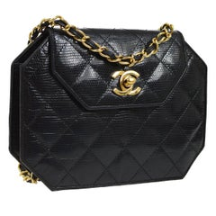 Chanel Black Lizard Exotic Skin Leather Small Evening Clutch Shoulder Flap Bag