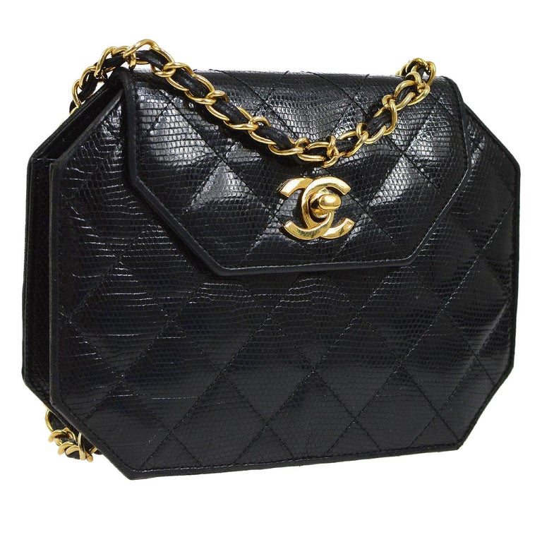 Chanel Black Lizard Exotic Skin Leather Small Evening Clutch Shoulder Flap Bag For Sale