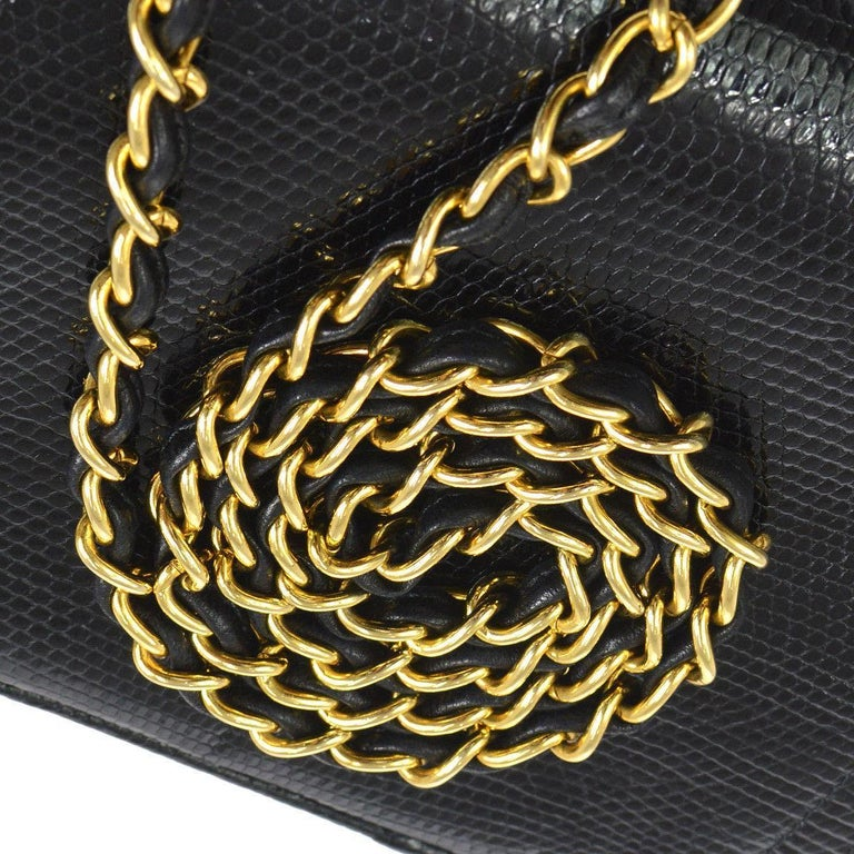Chanel Black Lizard Half Moon Leather Evening Clutch Shoulder Flap Bag in Box  Lizard Leather Gold tone hardware Leather lining Date code present Made in France Shoulder strap drop 17.5