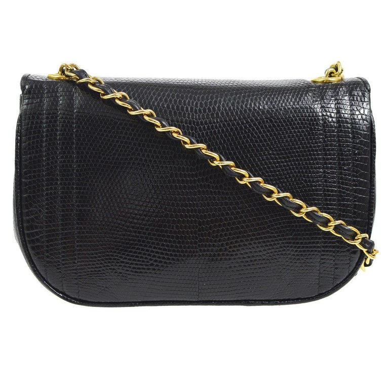 Chanel Black Lizard Half Moon Leather Evening Clutch Shoulder Flap Bag in Box In Good Condition For Sale In Chicago, IL