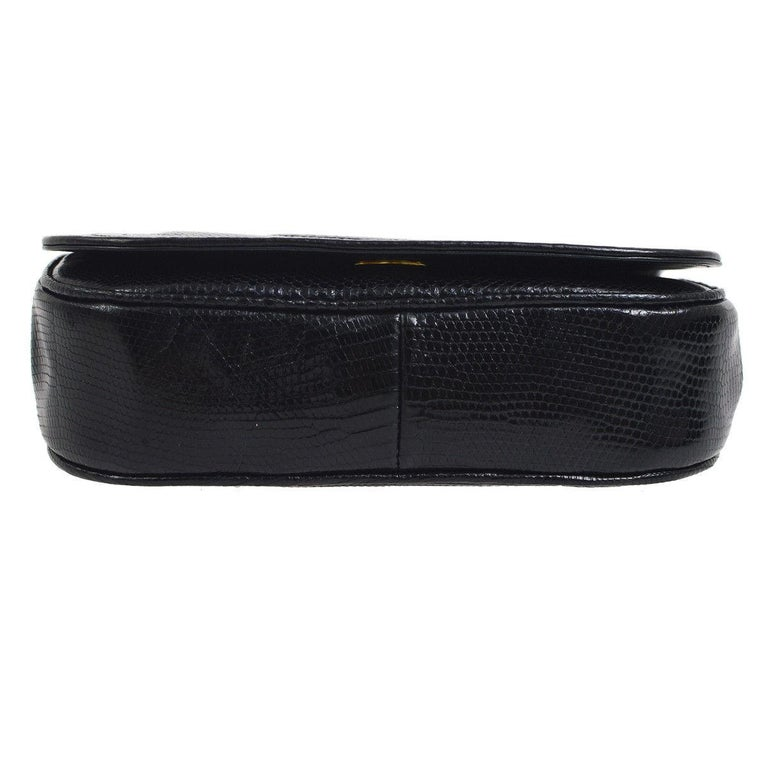 Women's Chanel Black Lizard Half Moon Leather Evening Clutch Shoulder Flap Bag in Box For Sale
