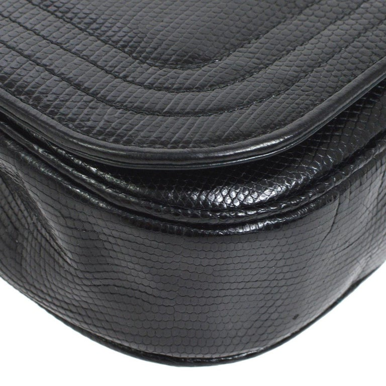 Chanel Black Lizard Half Moon Leather Evening Clutch Shoulder Flap Bag in Box For Sale 1