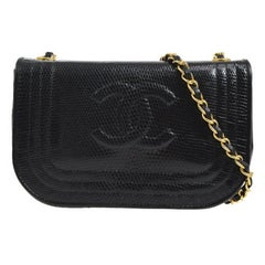Chanel Black Lizard Half Moon Leather Evening Clutch Shoulder Flap Bag in Box