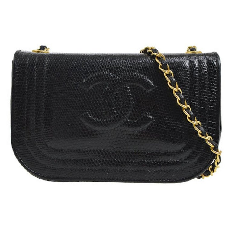 Chanel Black Lizard Half Moon Leather Evening Clutch Shoulder Flap Bag in Box For Sale