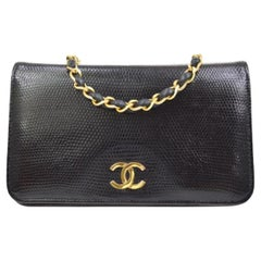 Chanel Black Lizard Leather Exotic Leather Gold Small Shoulder Flap Bag in Box