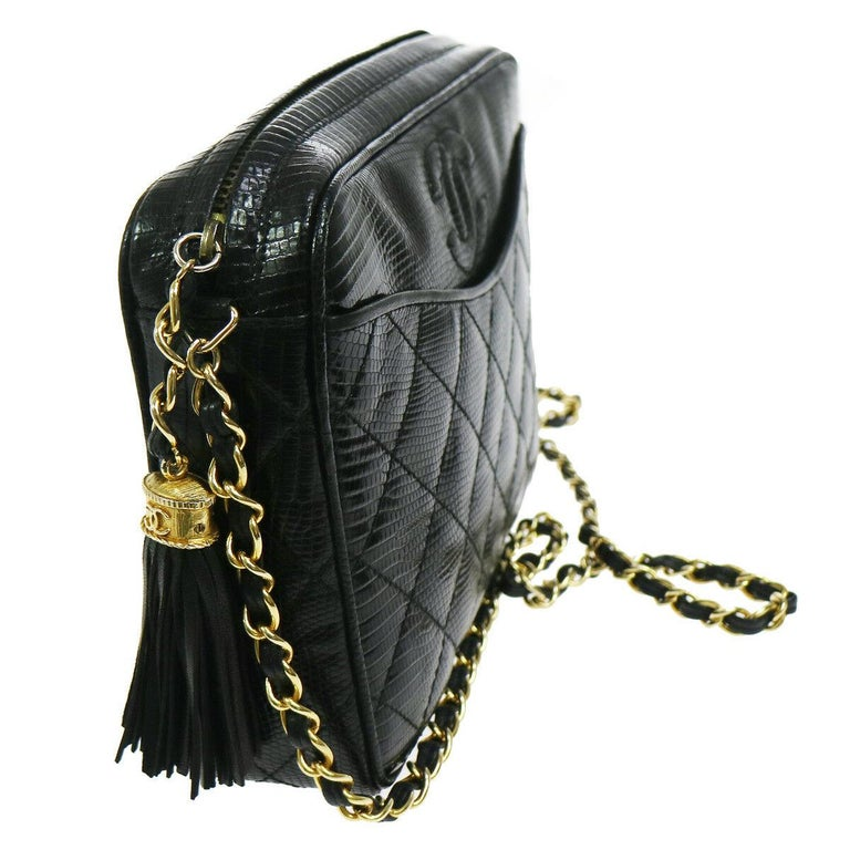 1f6a1a87e63d Chanel Black Lizard Leather Gold Evening Camera Shoulder Bag Lizard Leather  Leather lining Gold tone hardware