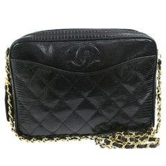 Chanel Black Lizard Leather Gold Evening Camera Shoulder Bag