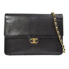 Chanel Black Lizard Leather Gold Evening Shoulder Flap Bag