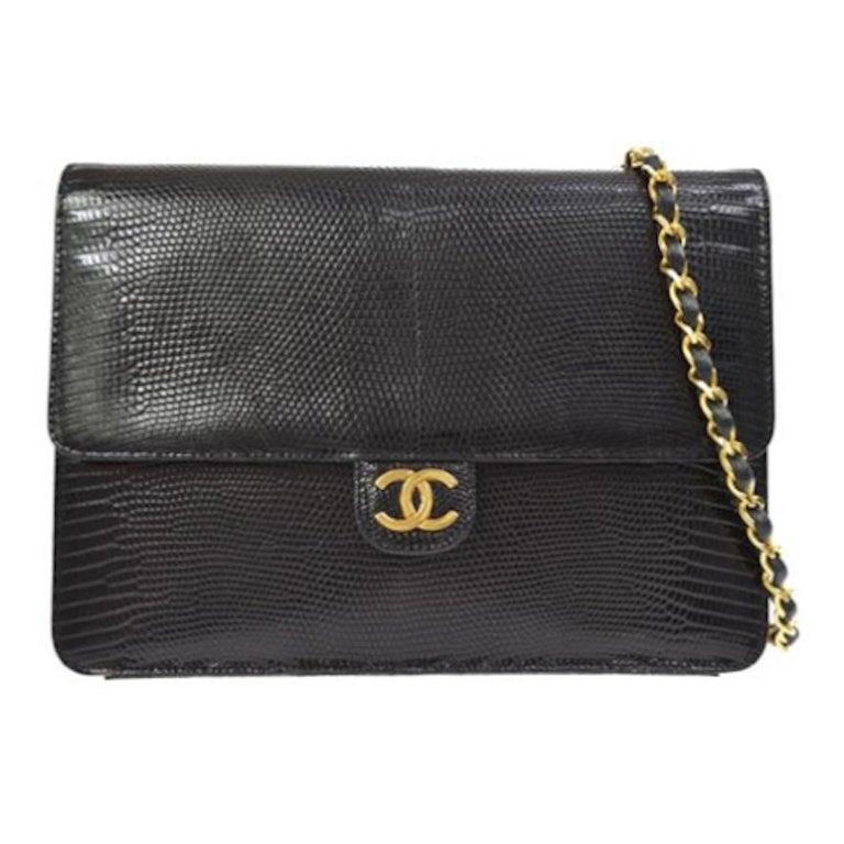 968a5cb54bddb7 Chanel Black Lizard Leather Gold Evening Shoulder Flap Bag For Sale ...