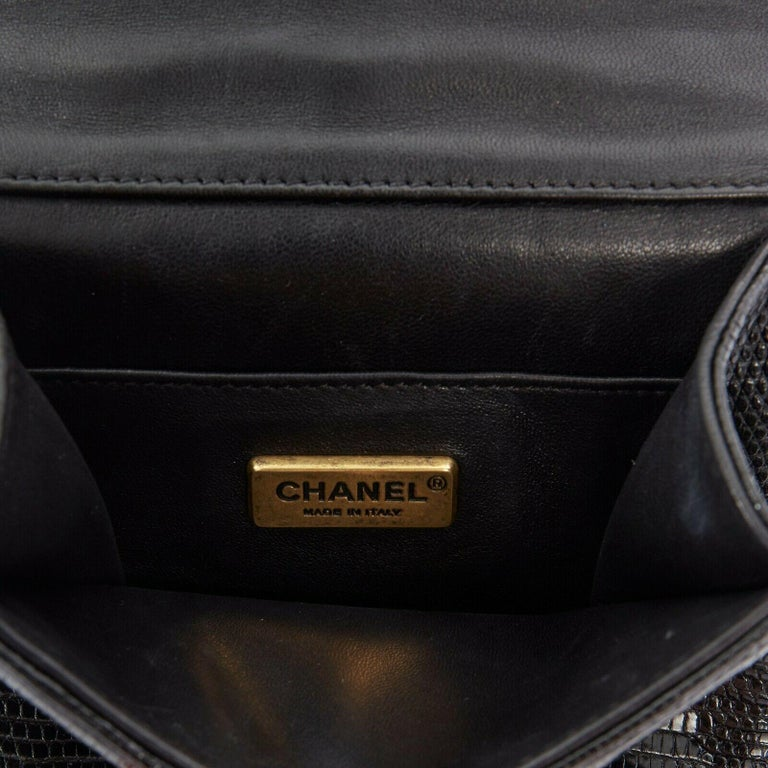 CHANEL black lizard leather top handle flap turn lock gold chain shoulder bag For Sale 7