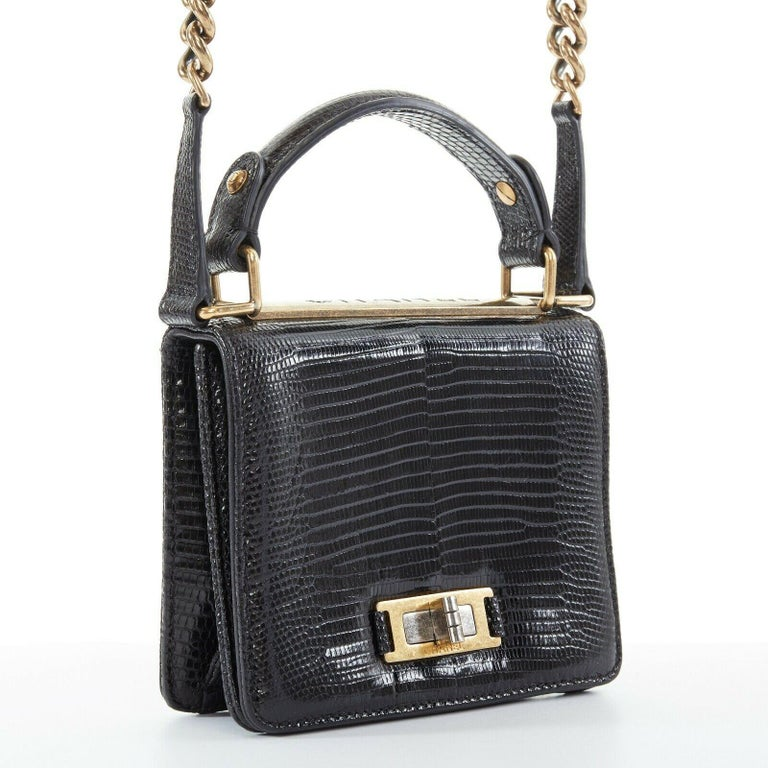 CHANEL black lizard leather top handle flap turn lock gold chain shoulder bag In Excellent Condition For Sale In Hong Kong, NT