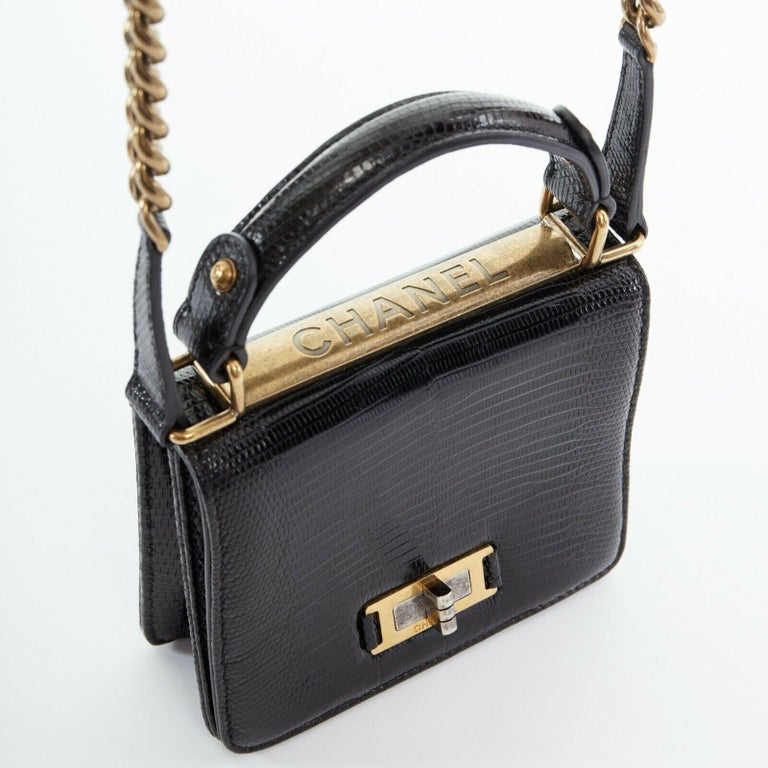 CHANEL black lizard leather top handle flap turn lock gold chain shoulder bag For Sale 3