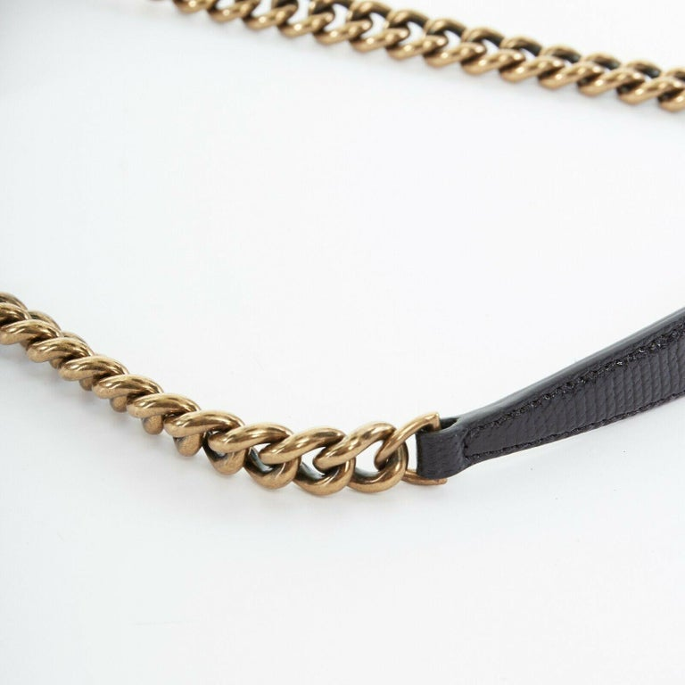 CHANEL black lizard leather top handle flap turn lock gold chain shoulder bag For Sale 5