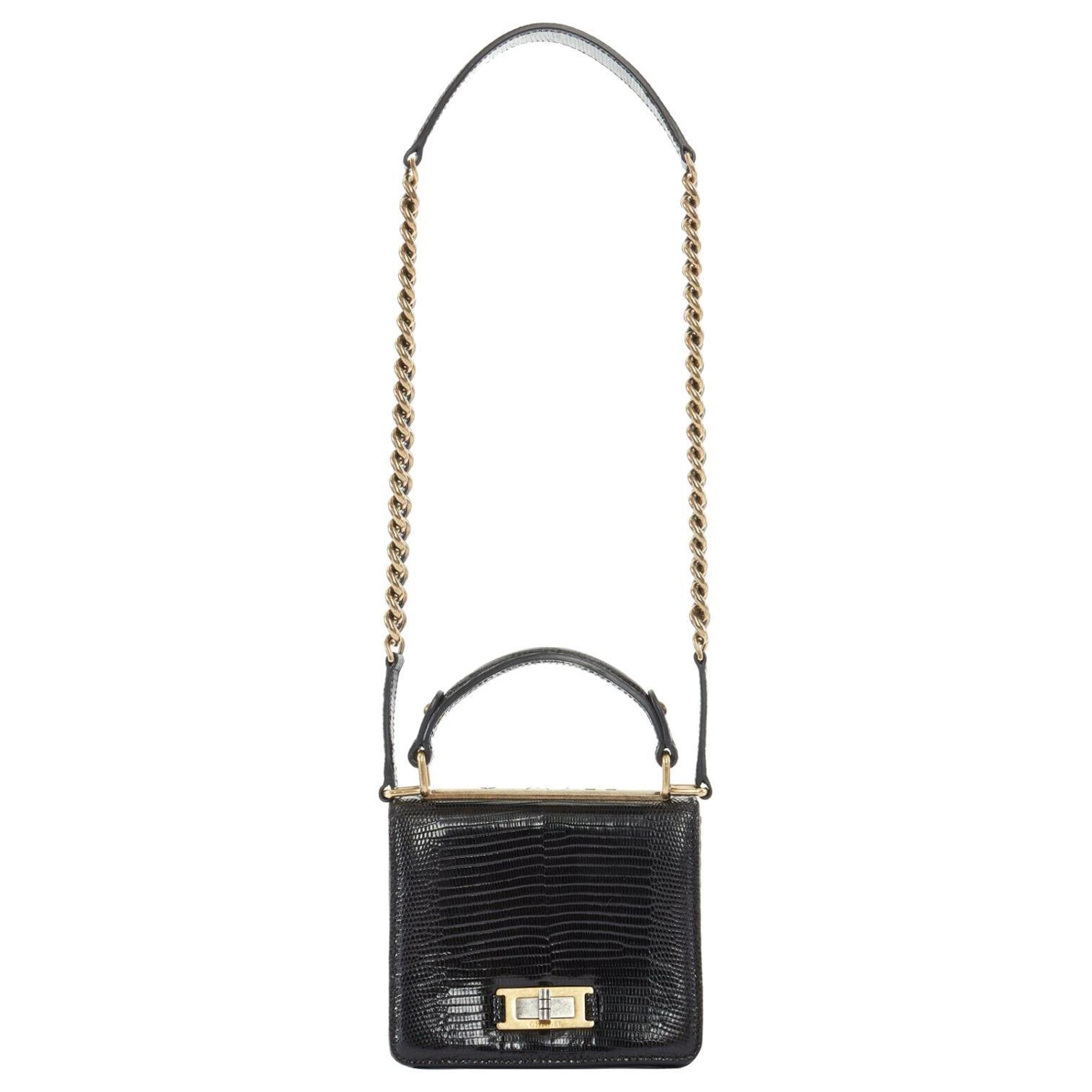 CHANEL black lizard leather top handle flap turn lock gold chain shoulder bag