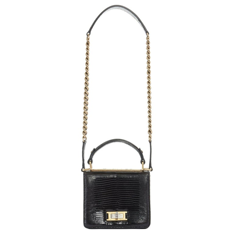 CHANEL black lizard leather top handle flap turn lock gold chain shoulder bag For Sale