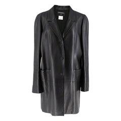 Chanel Black Longline Lambskin Leather Jacket W/ Embellished Buttons SIZE L