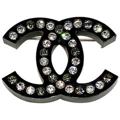 Chanel Black Lucite CC Logo Pin, Spring 2018 Collection