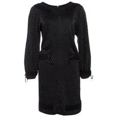 Chanel Black Lurex Knit Drawstring Waist Long Sleeve Dress L