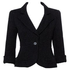 Chanel Black Lurex tweed Button Front Cropped Blazer S