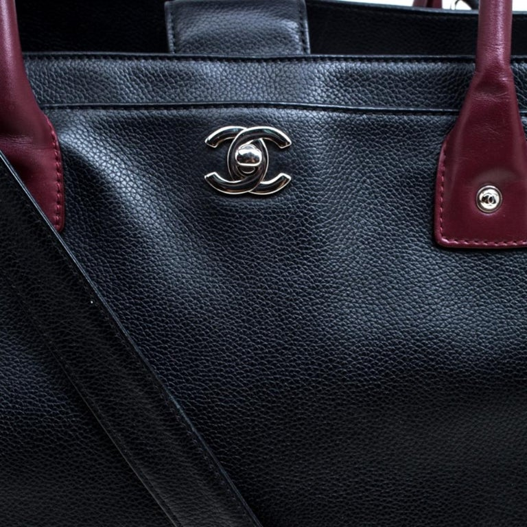 Chanel Black/Maroon Leather Top Handle Bag For Sale 7