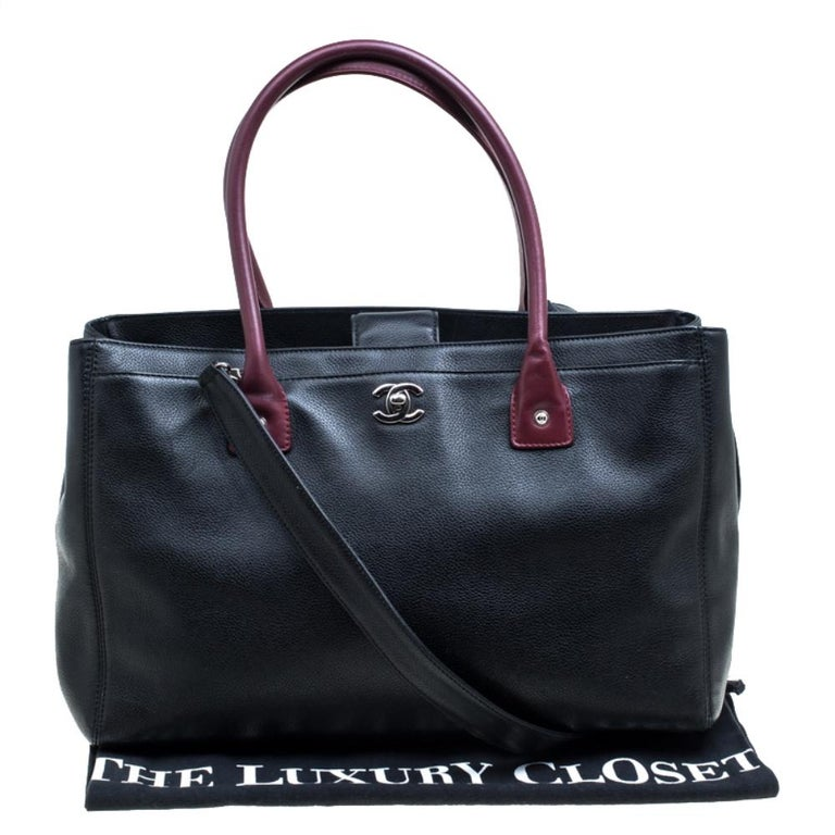 Chanel Black/Maroon Leather Top Handle Bag For Sale 8