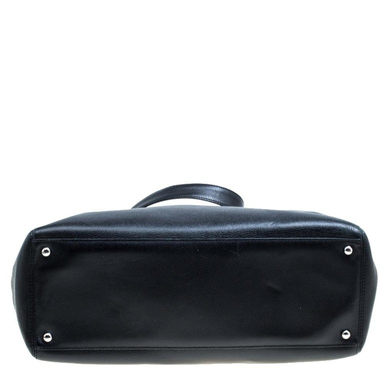 Chanel Black/Maroon Leather Top Handle Bag For Sale 1
