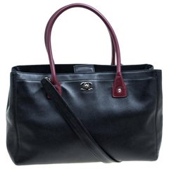 Chanel Black/Maroon Leather Top Handle Bag