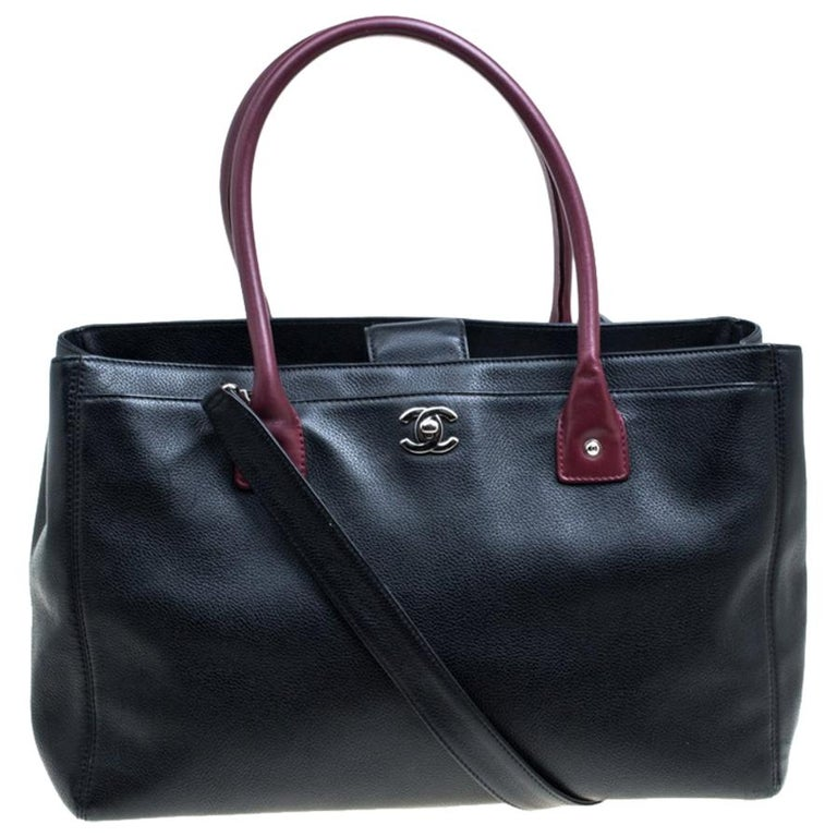 Chanel Black/Maroon Leather Top Handle Bag For Sale