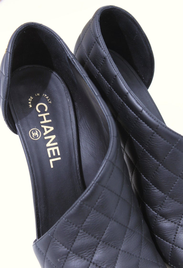 Chanel Black Matelasse Leather Open Booties Heels in Box with Dust Bags Size 39 For Sale 6