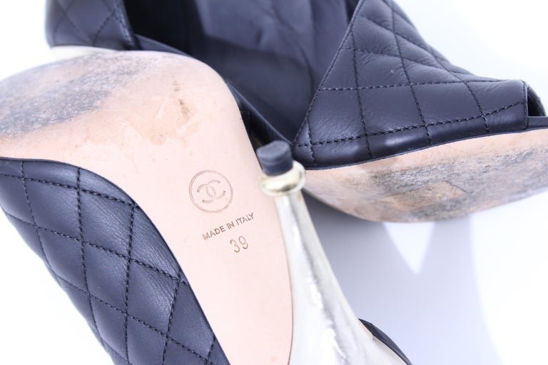 Chanel Black Matelasse Leather Open Booties Heels in Box with Dust Bags Size 39 For Sale 8