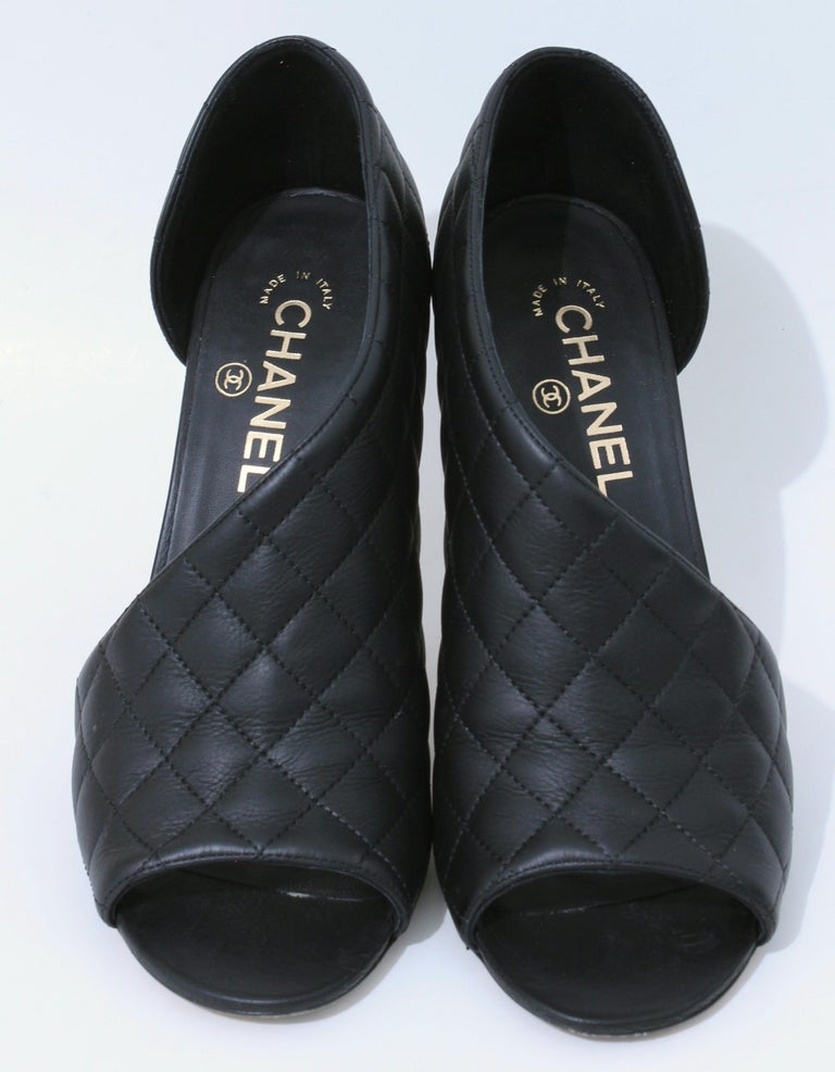 Women's Chanel Black Matelasse Leather Open Booties Heels in Box with Dust Bags Size 39 For Sale