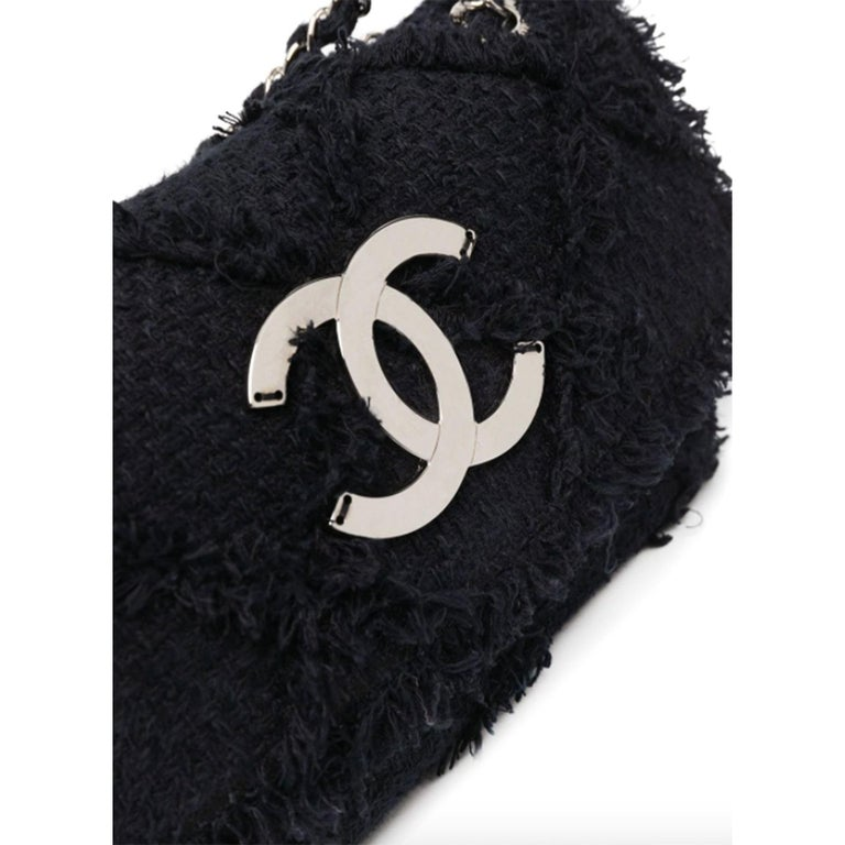 Chanel Black Medium Crochet Nature Tweed Fringe Classic Flap Bag  In Good Condition For Sale In Miami, FL