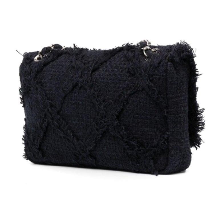 Women's or Men's Chanel Black Medium Crochet Nature Tweed Fringe Classic Flap Bag  For Sale