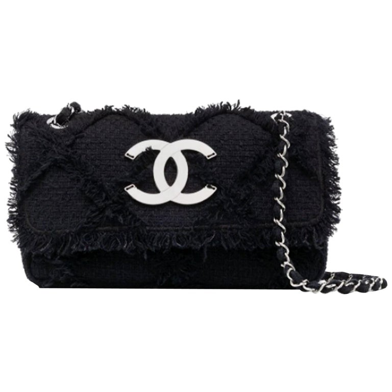 Chanel Black Medium Crochet Nature Tweed Fringe Classic Flap Bag  For Sale