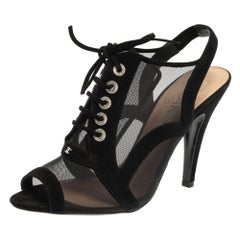 Chanel Black Mesh And Suede Trims CC Peep Toe Bootie Size 38