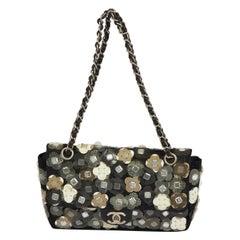 Chanel Black Mesh Flowers Applique' Flap Bag