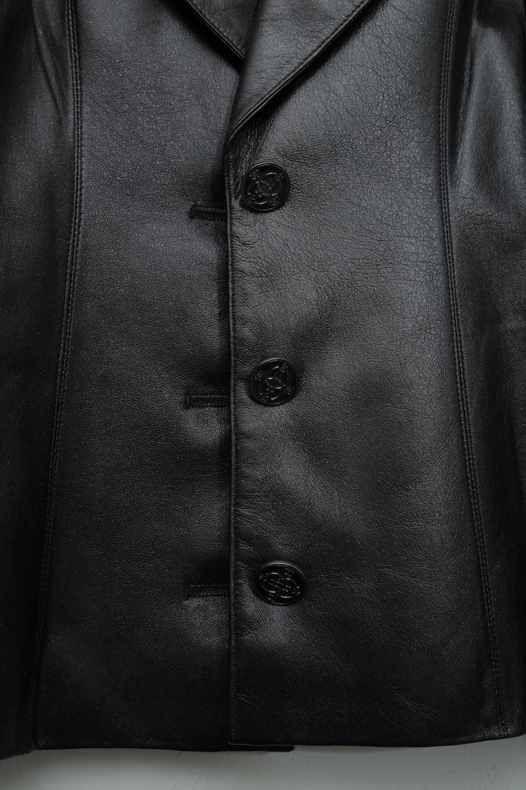Women's or Men's Chanel Black Metallic Fitted with Silver Logo Buttons Jacket For Sale