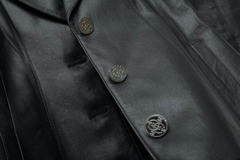 Chanel Black Metallic Fitted with Silver Logo Buttons Jacket For Sale 1