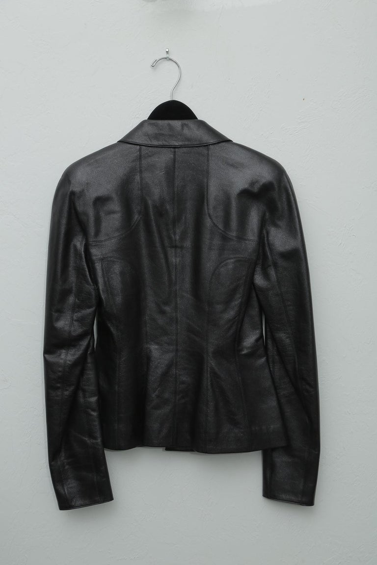 Chanel Black Metallic Fitted with Silver Logo Buttons Jacket For Sale 2