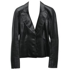 Chanel Black Metallic Fitted with Silver Logo Buttons Jacket