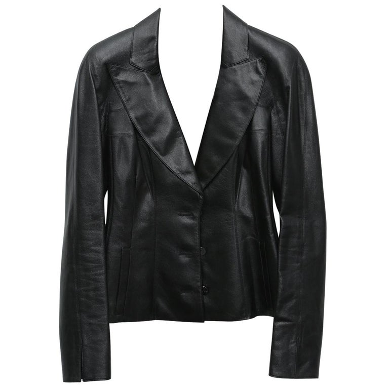Chanel Black Metallic Fitted with Silver Logo Buttons Jacket For Sale