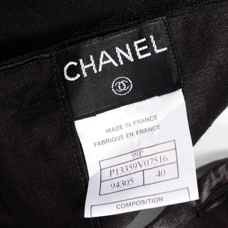 Chanel Black Metallic Linen Boat Neck Top With CC Logo Monogram Buttons  For Sale 7