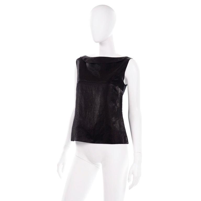 Chanel Black Metallic Linen Boat Neck Top With CC Logo Monogram Buttons  In Excellent Condition For Sale In Portland, OR