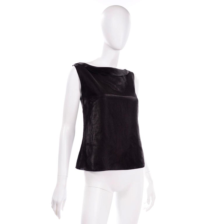 Chanel Black Metallic Linen Boat Neck Top With CC Logo Monogram Buttons  For Sale 3
