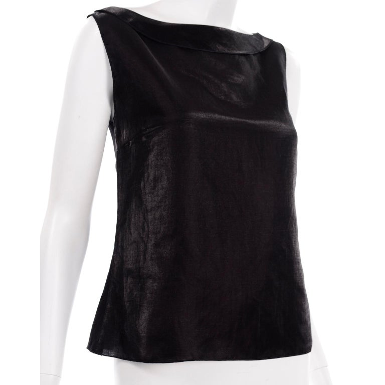 Chanel Black Metallic Linen Boat Neck Top With CC Logo Monogram Buttons  For Sale 4